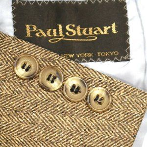 42R Paul Stuart 100% Linen Herringbone Brown COAT